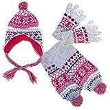 Step In Kinder Norweger Strickset mit Mütze Schal und Fingerhandschuhen, 4921-SET, grau melange/fuchsia/viola