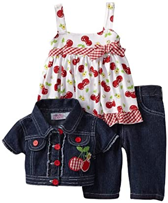 Young Hearts Baby-Girls Infant Cherry Jacket Set, Red, 18 Months