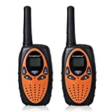 Floureon - Par de Intercomunicadores Gemelo Walkie Talkie (8 Canales, 3km, 400-470MHZ, 2-Vías Intercom, Con Mini LED) Negro&Rojo