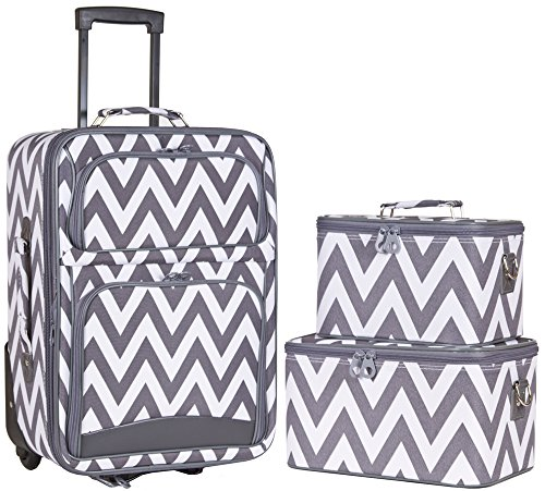 Ever Moda Grey Chevron 3 Piece Carry On Rolling Luggage Set 20-inch