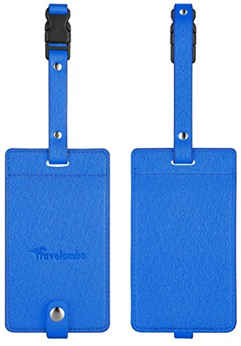Travelambo PU Leather Luggage Tags & Bag Tags 2 Pieces Set in 8 Colors
