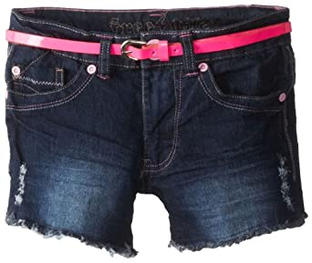 Freestyle Revolution Big Girls' Tammy Short with Belt and Contrast Binding, Deep Water/Pink, 12