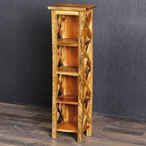 shabby chic holzregal dvd cd rack massivholz regal 95cm indo holz rustic grey k che. Black Bedroom Furniture Sets. Home Design Ideas