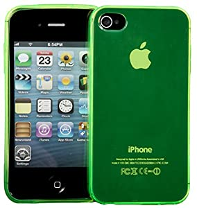 Connect Zone® Green TPU Gel Case Cover For iPhone 4/4G/4S + Screen Protector & Polishing Cloth