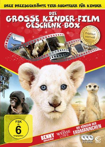 Die große Kinderfilm-Geschenk-Box mit drei preisgekrönten Tier-Abenteuern: Der weiße Löwe, Benny - Allein im Wald, Die Königin der Erdmännchen (3 DVDs)