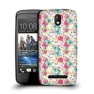 MobileGlaze Designs Rose Floral Pattern Red Hard Back Case Cover for HTC DESIRE 500