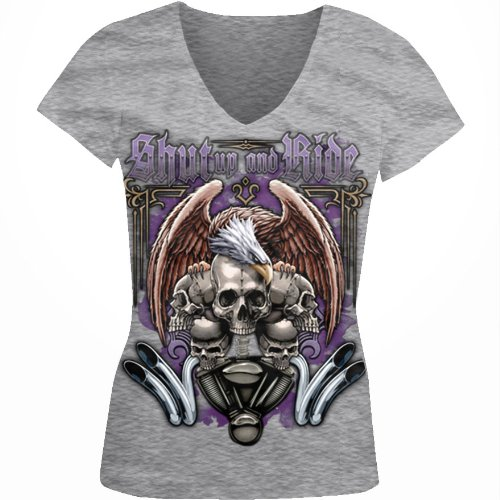 Shut Up And Ride Ladies Junior Fit V-neck T-shirt, Motorcycle Biker Eagle Skulls and Engine Design Junior's V-Neck Tee (Sport Grey, X-Large)