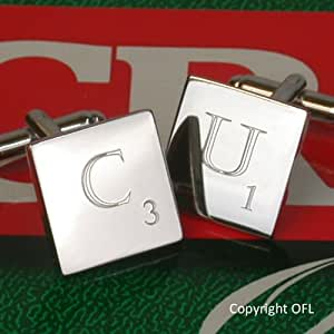 Scrabble Cufflinks - Personalised Engraved Cufflinks in the style of a Scrabble tile from OFL. You can choose one letter and one number for each link. Eg. J8 & S4. Supplied in chrome presentation case. Please state your engraving requirements in the gift message box. We engrave here in the UK and are happy to discuss any bespoke requests.