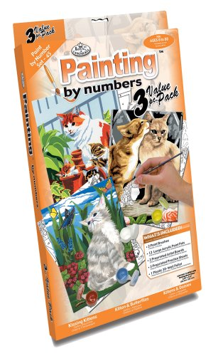 Royal & Langnickel Painting by Numbers Junior Small 3-Piece Art Activity Kit, Cats Set - 1