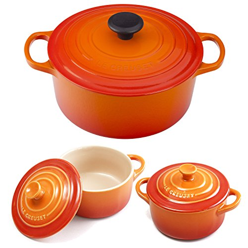 Le Creuset Signature Flame Enameled Cast Iron 4.5 Quart Round French Oven with 2 Free Stoneware Cocottes (Flame Broiler Oven compare prices)