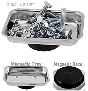 1 Small Mini Magnetic Tray Parts Screws Nails Bolts Dish Tools Holder Organizer Stainless Steel with Magnetic Non-Scratch Rubber Coated Pad Base