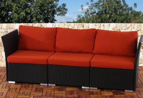 3er Sofa 3-Sitzer Siena Poly-Rattan, Gastronomie-Qualität ~ anthrazit mit Kissen in bordeaux