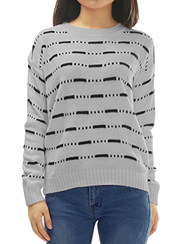 uxcell Women Crew Neck Long Sleeves Stripes Loose Sweater Grey XS