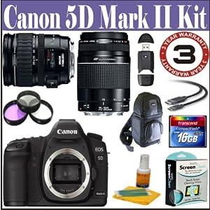 Canon EOS 5D Mark II 21.1MP Full Frame CMOS Digital SLR Camera with EF 28-135mm f/3.5-5.6 IS USM Zoom Lens & EF 75-300mm f/4-5.6 III USM Lens + 16 GIG Accessory Kit