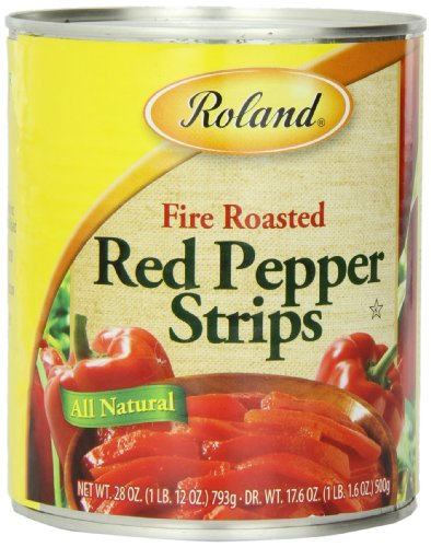 Roland Fire Roasted Peppers, Red Strips, 28 Ounce (Pack of 4) (Roasted Red Peppers In Water compare prices)
