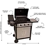 BENTLEY 4 BURNER (3 + 1 SIDE) STAINLESS STEEL GAS BBQ OUTDOOR GARDEN GRILL - BLACK AND SILVER