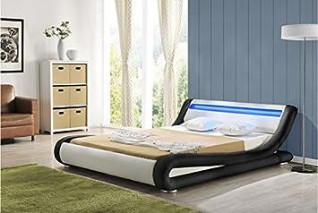 Madrid Black and white LED (DOUBLE) Bed Frame