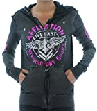 Affliction Stronghold Women's Hoodie Reversible Hooded Sweatshirt Gray Size XL