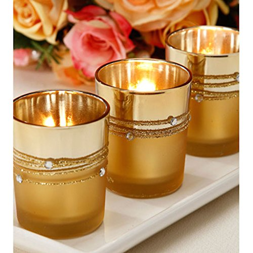 36 Gold Rhinestone Tutera Wedding Party Candle Votive Holders
