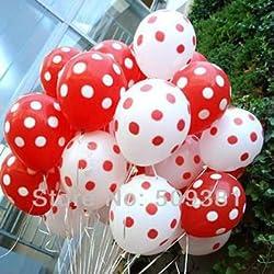 Balloon Junction RED & WHITE Polka Dot Balloons - Pack of 50
