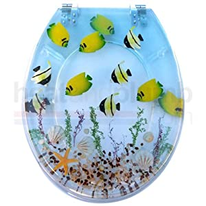 Tropical Fish RESIN Novelty Toilet Seat with Metal Round Hinges