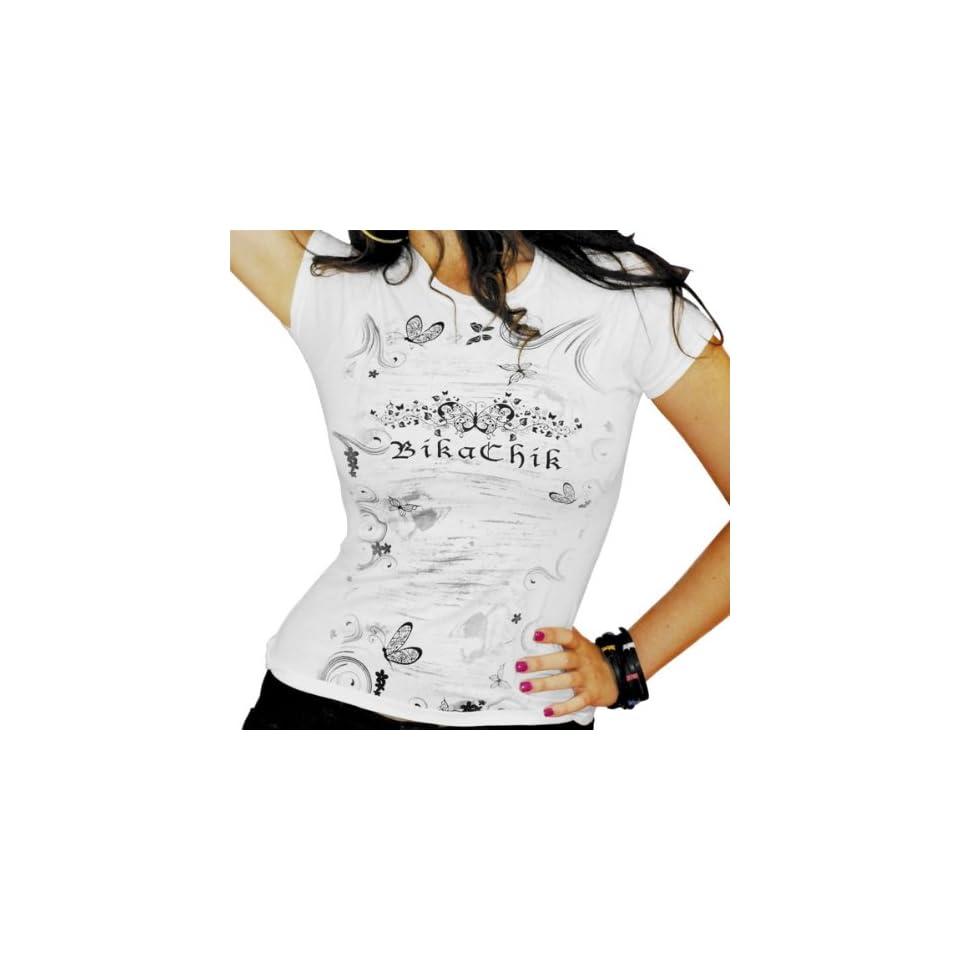 BikaChik Butterfly Womens Short Sleeve Fashion Shirt   White / Medium