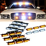 54 X LED w/ 18 X LED Emergency Vehicle Strobe Lights for Front Grille Deck Warning Light (54 LED w/ 18 LED, Amber and White)