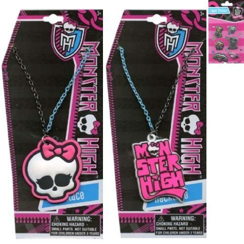 2 - Piece Monster High 16 Inch Necklace Set For Kids Plus 1 Pack of Fun Monster High Liquid Stickers - 1