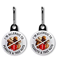 ALLERGIC TO PEANUTS & TREE NUTS Medical Alert Pair of 1 inch Black Zipper Pull Charms by Creative Clam