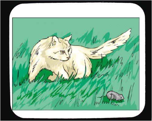 Mouse Pad with cat, white, mouse, grass, lawn - Buy Mouse Pad with cat, white, mouse, grass, lawn - Purchase Mouse Pad with cat, white, mouse, grass, lawn (SHOPZEUS, Office Products, Categories, Office Supplies, Desk Accessories)