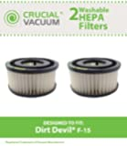 Dirt Devil F15 Washable HEPA Filter 2-Pack for ALL Dirt Devil Quick Vac Models; Compare to part #1-SS0150-000, 3-SS0150-001 (3SS0150001); Designed & Engineered By Crucial Vacuum