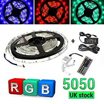 Waterproof 5050 RGB SMD 5M 150 LED Strip Light 12V with 6A Power Adapter FREE 44 Key IR Remote Controller