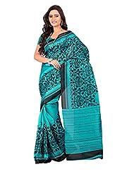 7 Colors Lifestyle Turquoise & Black Coloured Bhagalpuri Embroidered Saree - B01537ETG0