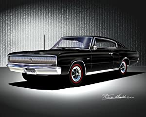 1966-1967 DODGE CHARGER Black - OFFICIAL DANNY WHITFIELD ART - SIZE 14
