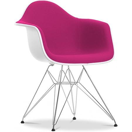 DAR Chair inspired by Charles Eames - Fabric - White Shell - Fuchsia