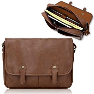 Duzign Rover Messenger Bag (Light Brown) for 11 Inch Netbook + Pocket for 10 Inch Tablet by Duzign
