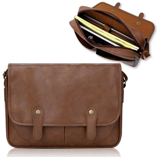 Duzign Rover Messenger Bag (Light Brown) for Samsung Series 5 Chromebook + Pocket for 10 Inch Tablet
