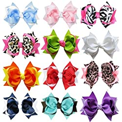 "HipGirl Boutique Girls 12pc Set Large 4""-4.5"" Loopy Spike Hair Bow Clips, Barrettes"