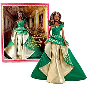 Mattel Barbie Collector Holiday Series 12 Inch Doll - Holiday Barbie 2011 in Green and Golden Gown with Golden Embroidery Plus Chandelier Earrings (African American Version - T7915)