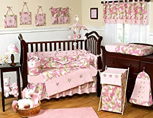 Khaki and Pink Camo Camouflage Military Baby Girl Bedding 9pc Crib Set by Sweet Jojo Designs