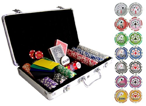 Bluff King Poker Chips with Carrying Case: 300 Clay Composite Poker Chips
