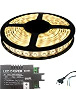 Iplay Self Adhesive Water Proof SMD Strip LED Light in Warm White Colour With LED Driver & Power Cord