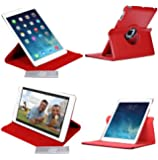 Etui Luxe Rouge Rotatif pour iPad Air fonction SmartCover + STYLET et FILM OFFERTS !