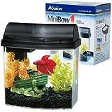 Aqueon 1-Gallon Mini Bow Aquarium Kit, Black