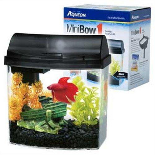 Aqueon 1 gallon mini bow aquarium kit black new free for Two gallon fish tank