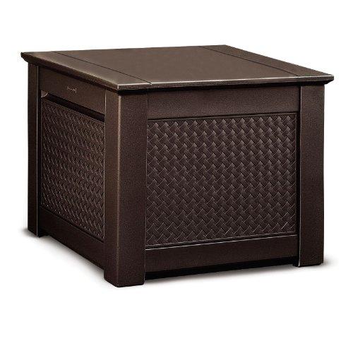 Rubbermaid 1859929 Outdoor Deck Box Storage Cube with Dark Teak Basket Weave Design