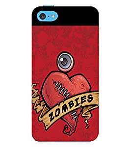 printtech Zombies Heart Back Case Cover for Apple iPhone 5C