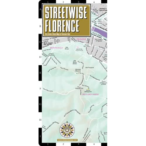 Map of Florence, Italy   Folding pocket size travel map with train