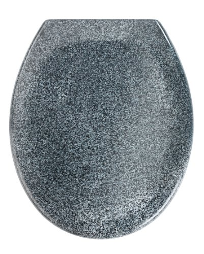 Wenko-18902100-Premium-toilet-seat-Ottana-Granite-rustproof-FixClip-hygienic-stainless-steel-mounting-376-x-452-cm-Grey