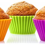 The Classic Kitchen - Silicone Muffin Cups / Cupcake Molds for Baking - No Pans Needed - 12 Pack